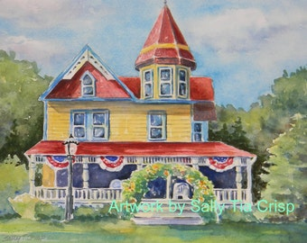 Sample of one of my Watercolor Original House Painting Portrait by Sally Tia Crisp
