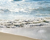 Summer beach photography - Sun reflections on the water, 7 x 5 print, fine art photography, aqua, blue water, waves, sand