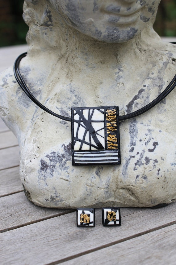 Handmade Jewellery Set- Elegant Rectangle Black, White and Gold Necklace and Earrings