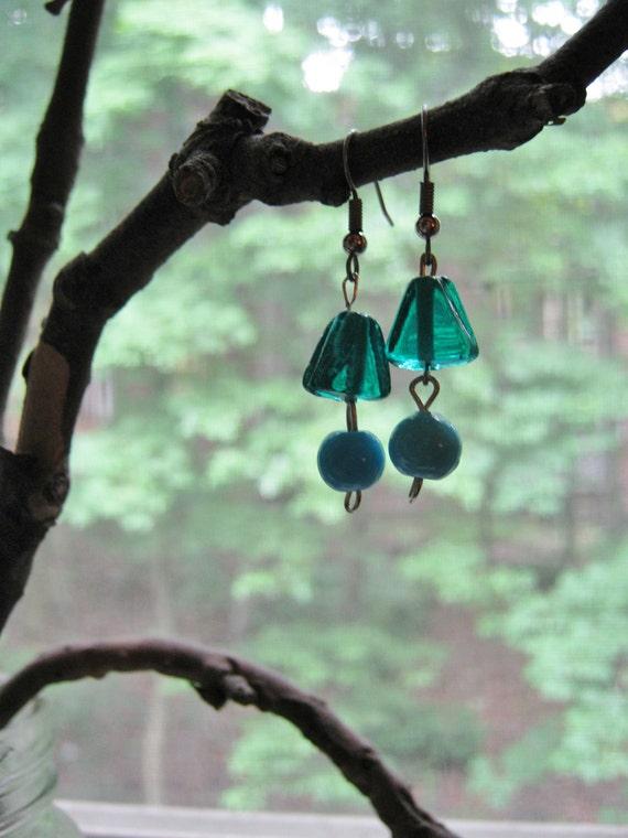 Blue 2-Bead Earrings
