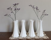 Reserved for Zoe, Milk Glass Bud Vase Collection of 8 plus 2 additonal, Hoosier Glass, Wedding, Garden Party
