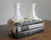 Milk Glass Candle Holders, Wedding, Cottage Chic