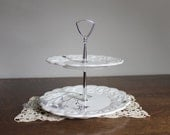 Milk Glass Dessert Two Tiered Tray, Tidbits Tray, Westmoreland, Wedding, Cottage Chic