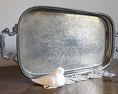 Ornate Silverplated Tray, Wedding, Rustic, Cottage Chic, French Farmhouse
