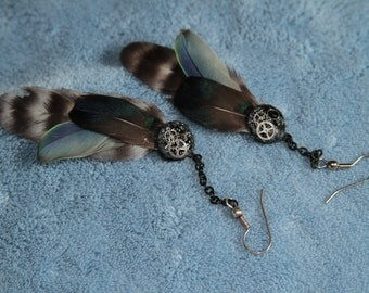 Handmade Steampunk Violet, Blue, and Black Feather Earrings
