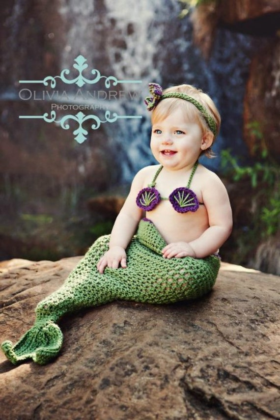 Little Mermaid crochet set -- Made to Order-- Newborn-3months -- available in newborn-2t sizes