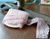 Baby Pink Elasticated Lace Trim 1 metre (1.09 yards)