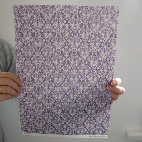 Purple Damask Decorative Paper - 1 sheet - A4 (8.26 inches x 11.61 inches)