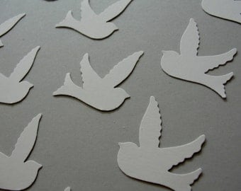 120 White Wedding Dove Bristol Paper Cut Outs, White Wedding Decorations Table Confetti. Set of 100