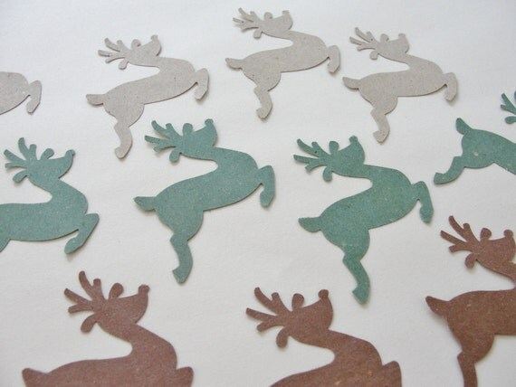 Earth Tones Christmas Deer Cut Outs Holiday Reindeer Recycled Paper Cutouts Scrapbooking for Holiday Tags Decorations Set of 12