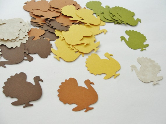 Autumn Fall Thanksgiving Turkeys Paper Cut Outs Cutouts 1 inch Scrapbook Embellishments Tags Decorations  Set of 50