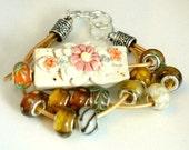 Porcelain Bead Floral Glass Lamp-work Bead Bracelet