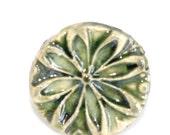Green Flower Stamped Porcelain Ring