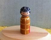 """Wooden Peg Firefighter 3.5"""""""