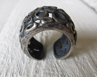 sterling silver ring,  Adjustable Handmade Ring in 925 Black Sterling Silver, Oxidized Antiqued Sterling, Contemporary Ring