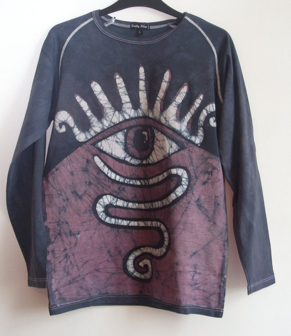 Adults/youth, long sleeve tee shirt, batik and tie dye, eye, 100%cotton. size uk Small, created by hand in Scotland.