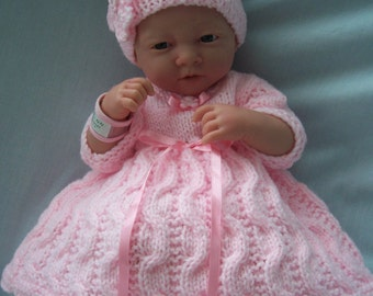 """Hand knitted dolls clothes for 15"""" La Newborn Berenguer doll or simliar, made to order."""