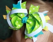 Stacked Grosgrain Ribbon Boutique Bow Teal Blue Green Yellow