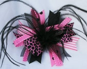 Pink and Black Giraffe Boutique Feather Stacked Hair Bow Clip girls baby