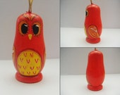 Hand Painted Russian Doll Miniature, Little Owl Red/Orange/Yellow