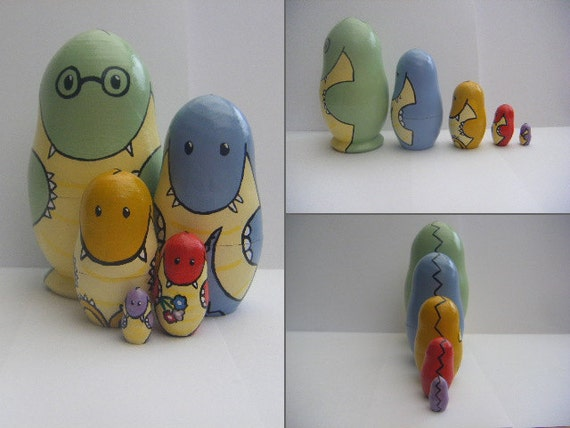 5 Piece Hand Painted Nesting Doll Set, Family of Monsters