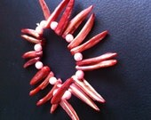 Red Shell and Pink Acrylic Bead Braclet