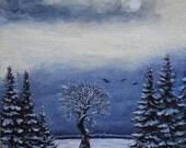 """Original acrylic painting """"Winter Tree"""" (12""""x9"""")"""