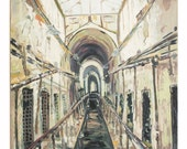 East State Penitentiary, Original Oil Painting, On canvas, Using both beginning layers with brush and Thick final layers with pallet knife