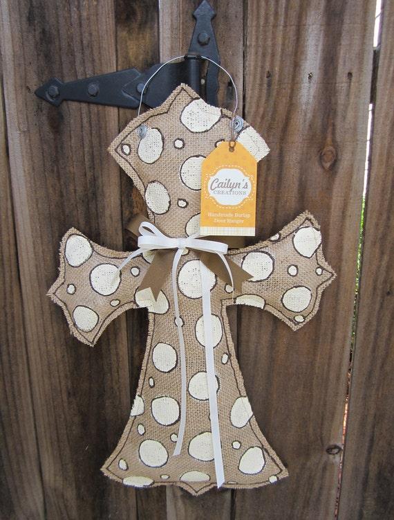 Items similar to khaki polka dot cross burlap door hanger