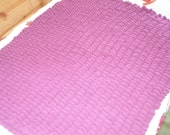 Knitted Purple Pom pom baby blanket, very soft and warm lap, snuggle or wheelchair throw