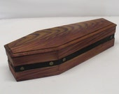 15 inch Comstock Railroad Wood Coffin Box - Dark