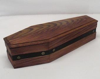 15 inch Comstock Railroad Wood Coffin Box - Dark