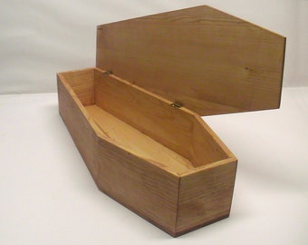 20 inch Victorian Pine Coffin for Doll Display, Halloween, Gothic Decorations