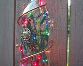 Decorated Lighted Glass Bottle