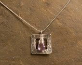 Enlightened Center Sterling Silver Square Brilliant Faceted Amethyst Briolette Handwrapped Sterling Silver Zen Necklace: Yoga Jewelry Vegan