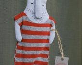 Bunny in a stripy nightgown (handmade doll)