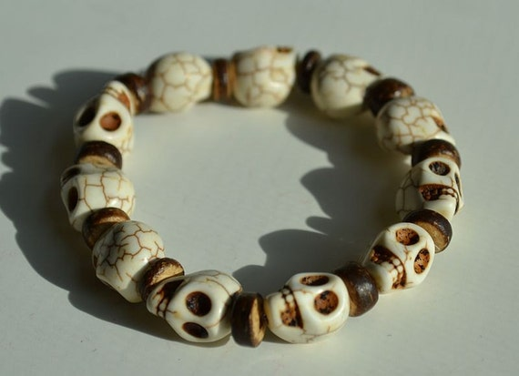 White Day of the Dead Skull Bracelet with Flat Wood Spacer Beads (Dia De Los Muertos - All Saints Day)