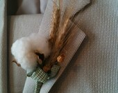 Cotton Boll and Wheat Boutonniere