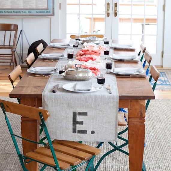 Monogram Burlap Table Runner