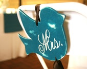 "Mr. and Mrs. ""Love Bird"" Wedding Chair Signs"