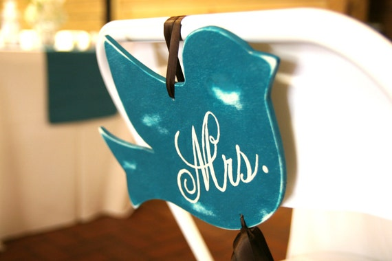 """Mr. and Mrs. """"Love Bird"""" Wedding Chair Signs"""