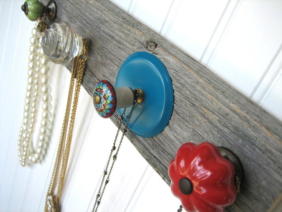 Necklace Organizer with Turquoise and Red Knobs
