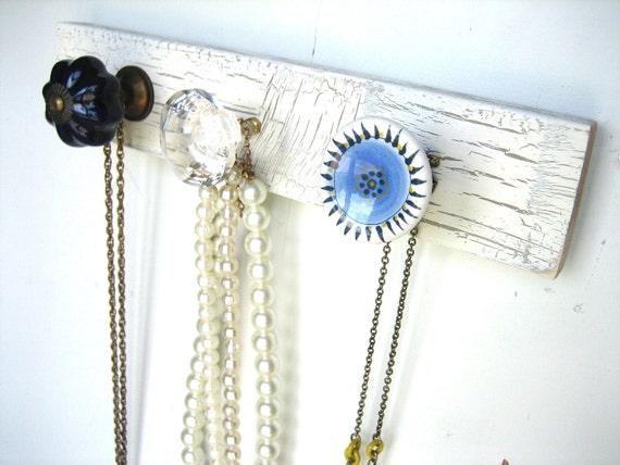 Jewelry Organizer / Jewelry Display / Wall Hooks / Beautiful Blue Necklace Rack