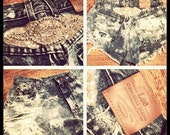 destroyed denim high waisted cut off shorts acid wash hand beading embriodery