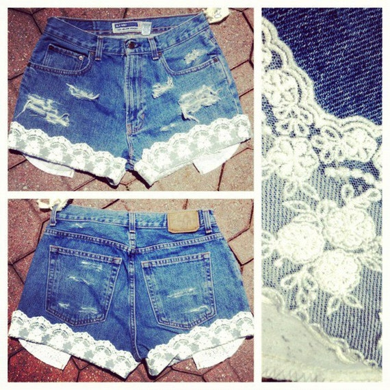 destroyed denim high waisted cut off shorts with hand made lace