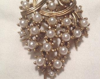 Vintage Pearl Grapes Brooch
