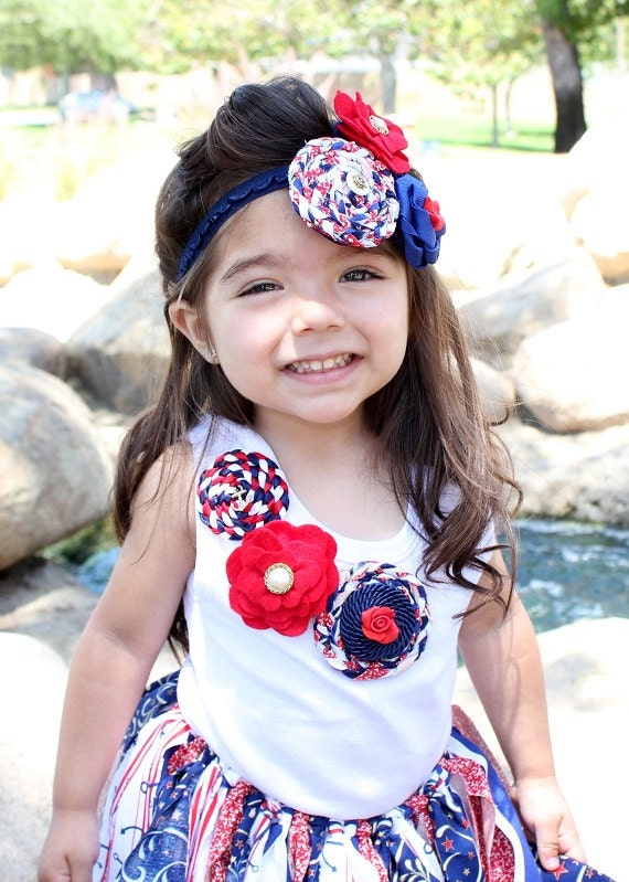 Tank for Baby...Tank for Girls...Flower Tank...White...Red...Navy...Nautical...Fourth of July.