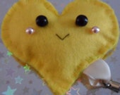 Happy Face Heart Plushie Friend Charm (Yellow Plush Key Ring Mobile)