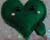 Happy Face Heart Plushie Friend Charm (Green Plush Key Ring Mobile)