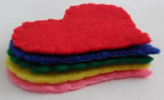 Rainbow Felt Heart Embellishments 5 pack (Hearts for Card Making Scrapbooking)